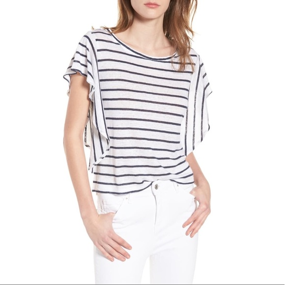 cupcakes and cashmere Womens Cannon Striped Ruffle Knit Top